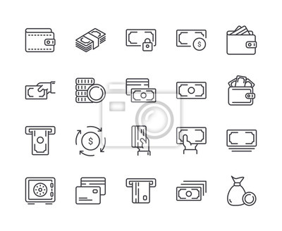 Simple Set of Money Line Icon. Editable Stroke