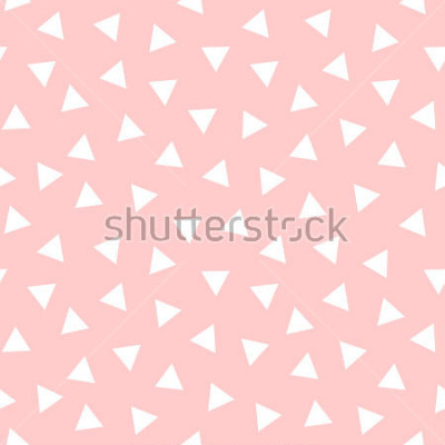 Naklejka Simple Triangle Seamless Pattern with Pink Background, Vector illustration