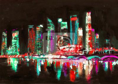 Singapur obraz olejny. Miasto