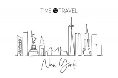 Naklejka Single continuous line drawing of New York city skyline, USA. Famous city scraper and landscape. World travel concept home wall decor poster print art. Modern one line draw design vector illustration