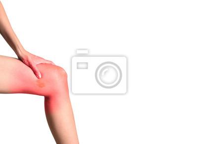 siniak na lewej nogawce, kobiety dotknięte lewej dłoni, na białym tle