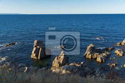 Naklejka Skały przy linią brzegową miasteczko Sozopol, Burgas region, Bułgaria