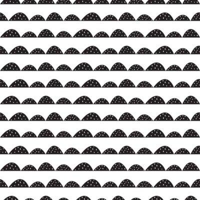 Naklejka Skandynawski bez szwu czarno-biały wzór w parze narysowanych stylu. Stylizowane rzędy Hill. Fala prosty wzór do tkanin, tkanin i bielizny niemowlęcej.