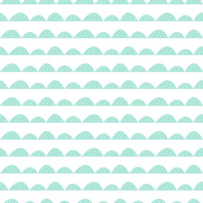 Naklejka Skandynawski szwu mięty wzór w stylu rysowane ręcznie. Stylizowane rzędy Hill. Fala prosty wzór do tkanin, tkanin i bielizny niemowlęcej.