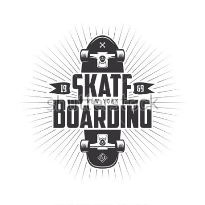 Naklejka Skateboarding t-shirt design. Urban skating. Skateboard typography. Vector vintage illustration.