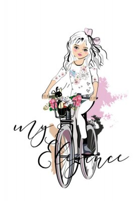 Naklejka Sketch of a cute fashion girl with a dog riding the bicycle. Hand drawn vector illustration.