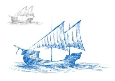 Naklejka Sketch of old medieval sailing ship