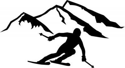 Naklejka Ski Run Góry w tle