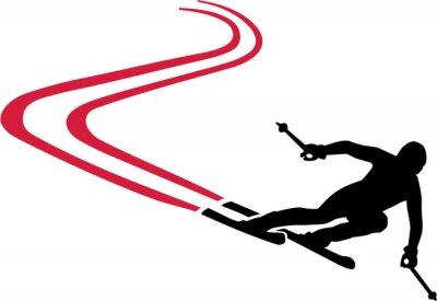 Naklejka Ski Run z czerwonym szlakiem