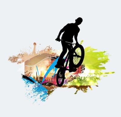 Naklejka Skoczek BMX podczas triku
