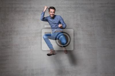Naklejka skok człowiek biznesu euforii ścianie
