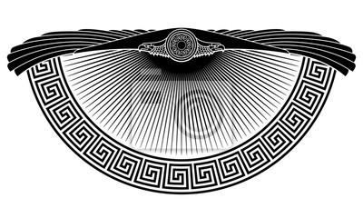 Naklejka Skrzydlaty orzeł, symbol słońca, starożytny europejski ornament