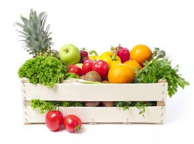 Naklejka Skrzynka z owocami i warzywami