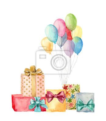 Skrzynki Akwarela prezent z kokardą i powietrze balonów. Ręcznie malowane ilustracji niebieski, różowy, żółty, fioletowy balonów i prezenty urodzinowe zestaw samodzielnie na białym tle. Strona lub życ