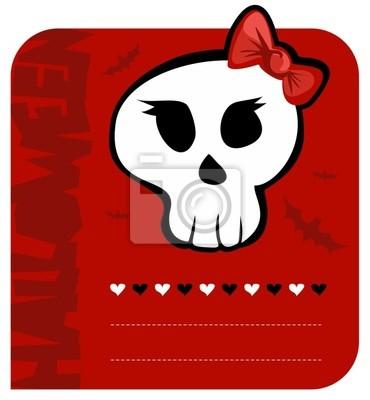 Skull Halloween dziewczyna karta pozdrowienia