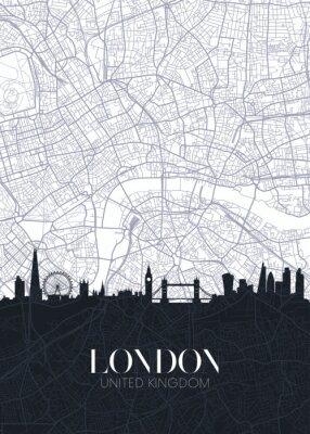 Naklejka Skyline and city map of London, detailed urban plan vector print poster