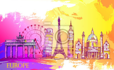 Skyline Europy, szczegółowo silhouette.Travel Zabytki. ilustracji wektorowych, ręcznie rysowane grafiki, sketh, artystyczne farby Splash, piękne kolorowe karty z architektury