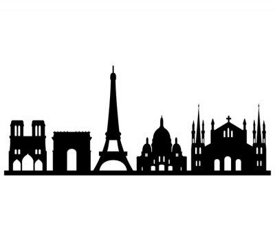 Naklejka Skyline parigi su sfondo bianco