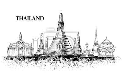 Skyline z Tajlandii, szczegółowo silhouette.Travel Zabytki. ilustracji wektorowych, ręcznie rysowane grafiki, atrament powitalny, czarne i białe architektury