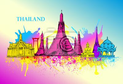 Skyline z Tajlandii, szczegółowo silhouette.Travel Zabytki. ilustracji wektorowych, ręcznie rysowane grafiki, sztuki, Splash farby fioletowy i żółty, niebieski, piękne kolorowe karty z architektury