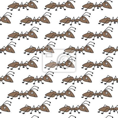 Śliczna kolorowa mrówka. Wektor wzór na białym tle