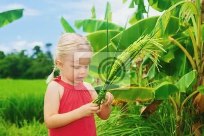 Śliczne ciekawy dziecko zwiedzania paczkę ryżu na zielonym polu