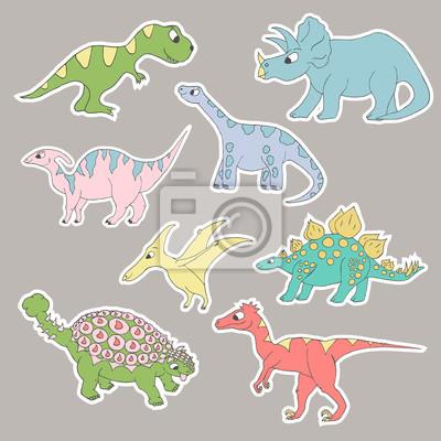 Śliczne kolorowe naklejki dinozaurów. Wektor na białym tle.