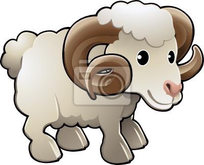 Śliczne Ram Sheep Animal Farm Vector Illustration