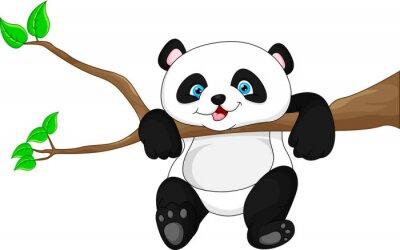 Naklejka Śliczne śmieszne Baby Panda na drzewie