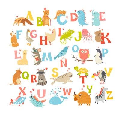 Naklejka Śliczne wektor zoo alfabetu. Śmieszne zwierzęta kreskówek. Ilustracja wektora EPS10 na białym tle. Listy. Naucz się czytać