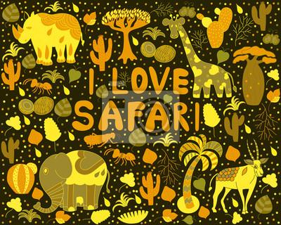 """Śliczne wzór Afryki z napisem """"Kocham Safari"""" z dzikimi zwierzętami"""