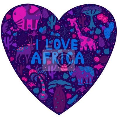 Śliczne wzór w Afryce sylwetka serca z dzikich zwierząt fro