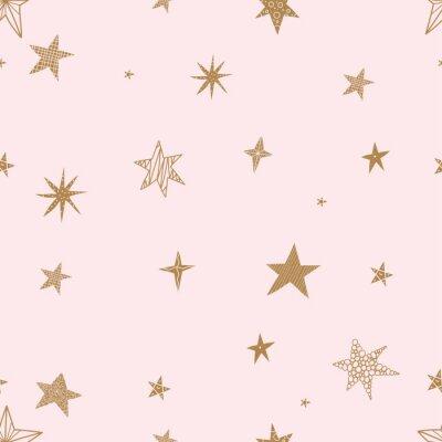 Naklejka Śliczne złote gwiazdy. Bezszwowe wektor wzór. Jednolity wzór może służyć do tapet, wypełnień deseniem, tła strony internetowej, tekstur powierzchni.
