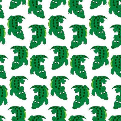 Śliczny kolorowy krokodyl bezszwowy wzór. Wektor na białym tle.