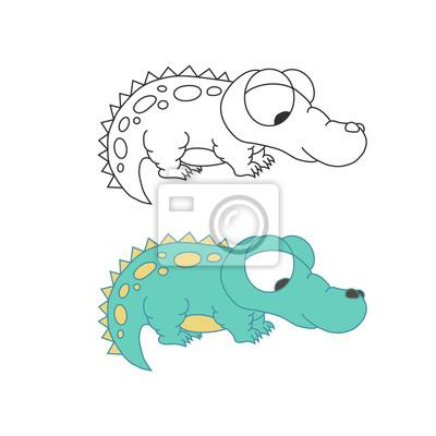 Śliczny ładny krokodyl odizolowywający. Zarys kolorowy wektor.
