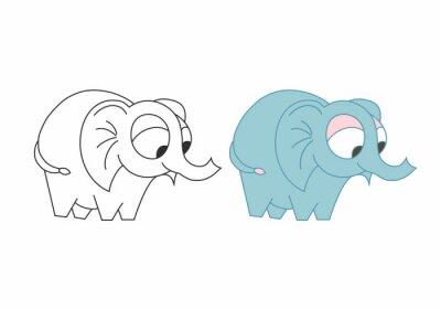 Śliczny ładny słoń odizolowywający. Zarys kolorowy wektor.