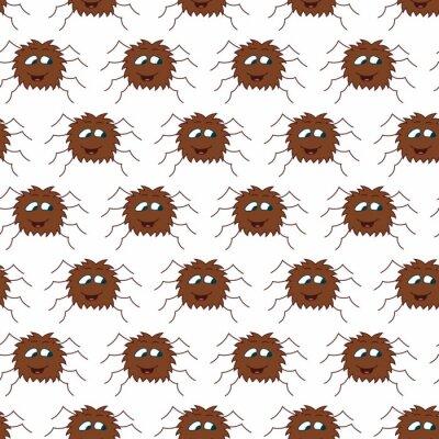 Śliczny pająka bezszwowy wzór. Wektor na białym tle.