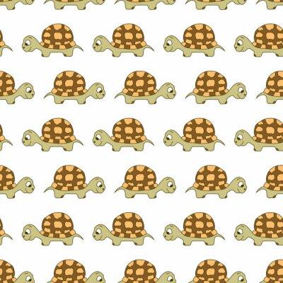 Śliczny żółw bezszwowy wzór. Wektor na białym tle.