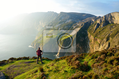 Naklejka Slieve League, Irelands highest sea cliffs, located in south west Donegal along this magnificent costal driving route. Wild Atlantic Way route, Co Donegal, Ireland.