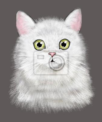 Słodki kociak. Ilustracja akwarela Kat. T-shirt druku. Kartka z życzeniami. Plakat Kitten. Izolowane kota