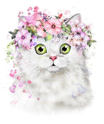 Słodki kociak. Ilustracja akwarela Kat. T-shirt druku. Kartka z życzeniami. Plakat Kitten. Wieniec z Kwiatów i farba powitalny. Izolowane kota