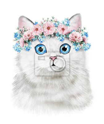 Słodki kociak. Ilustracja akwarela Kat. T-shirt druku. Kartka z życzeniami. Plakat Kitten. Wieniec z Kwiatów. Izolowane kota