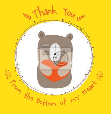 Słodki miś dziękuję karty