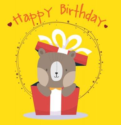 Słodki miś szczęśliwy kartka urodzinowa