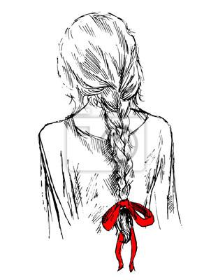 słodkie dziewczyny z warkocz i łuk, z powrotem, ręcznie rysowane ilustracji wektorowych, sketh