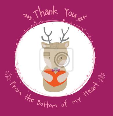 słodkie jelenia dziękuję karty