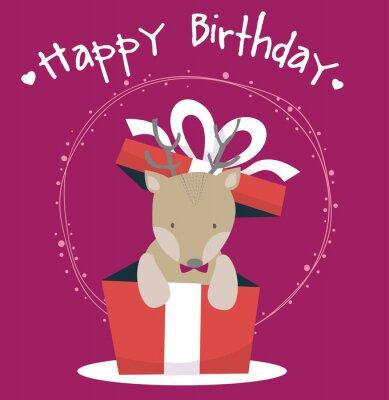 słodkie jelenia szczęśliwy kartka urodzinowa
