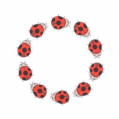 Słodkie okrągłe ramki biedronka. Wektor. Odosobniony. Kolorowa granica