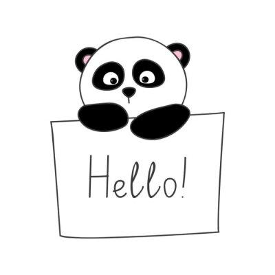 Naklejka Słodkie panda kreskówki samodzielnie na białym tle