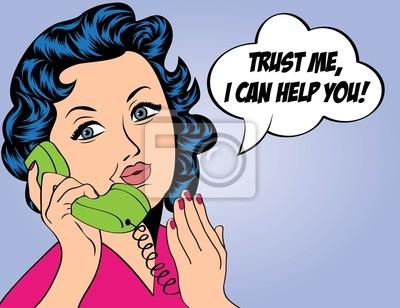 Naklejka Słodkie retro kobieta w stylu komiksów z komunikatem